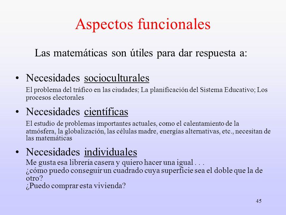 45 Las matemáticas son útiles para dar respuesta a: Necesidades socioculturales El problema del tráfico en las ciudades; La planificación del Sistema