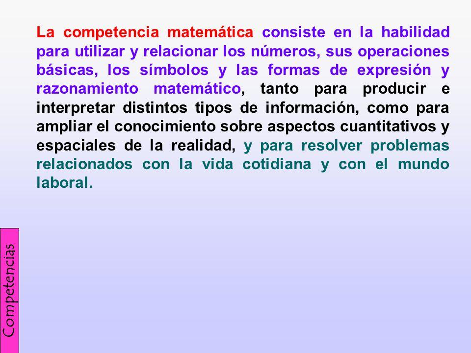 La competencia matemática consiste en la habilidad para utilizar y relacionar los números, sus operaciones básicas, los símbolos y las formas de expre