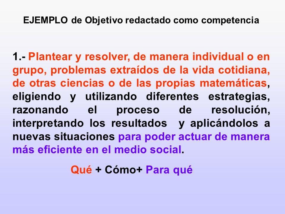 EJEMPLO de Objetivo redactado como competencia 1.- Plantear y resolver, de manera individual o en grupo, problemas extraídos de la vida cotidiana, de