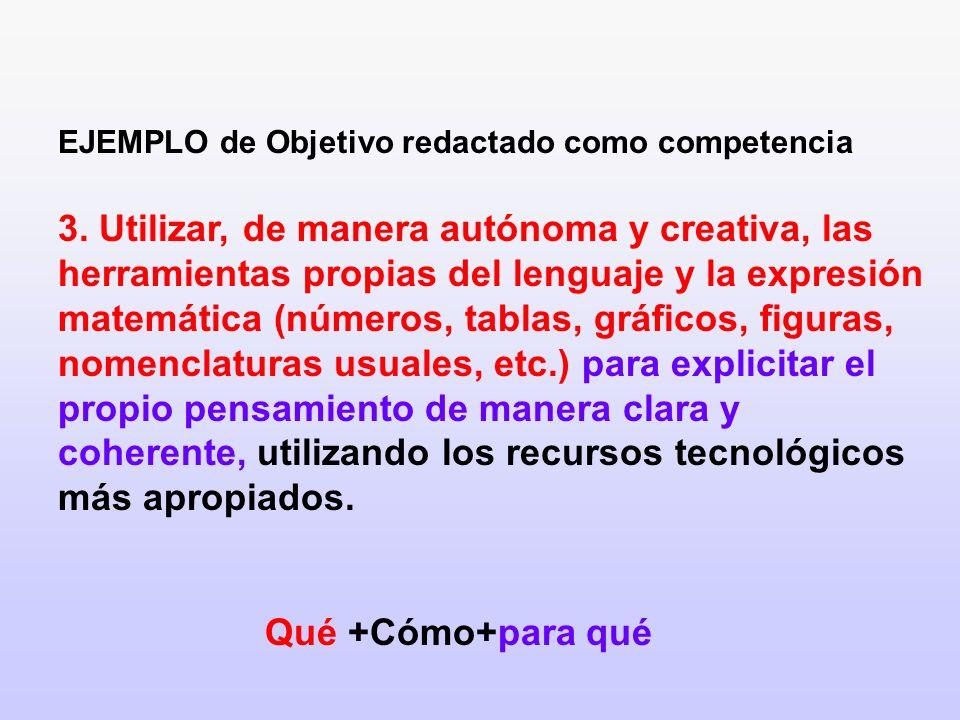 EJEMPLO de Objetivo redactado como competencia 3. Utilizar, de manera autónoma y creativa, las herramientas propias del lenguaje y la expresión matemá