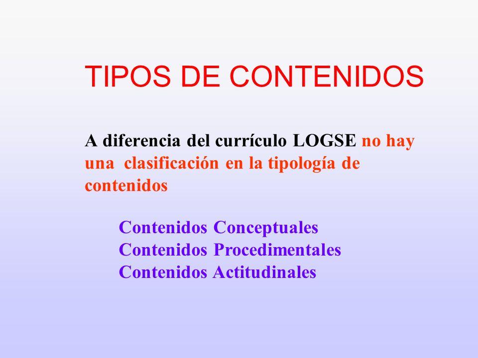 1. TIPOS DE CONTENIDOS A diferencia del currículo LOGSE no hay una clasificación en la tipología de contenidos Contenidos Conceptuales Contenidos Proc
