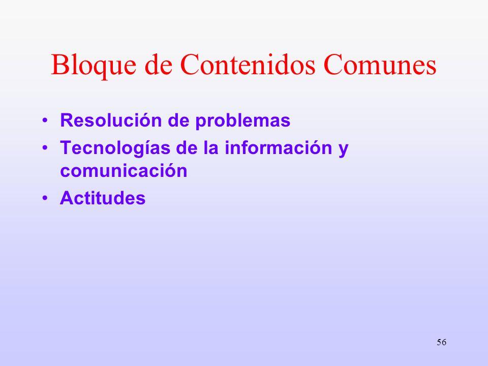 56 Bloque de Contenidos Comunes Resolución de problemas Tecnologías de la información y comunicación Actitudes
