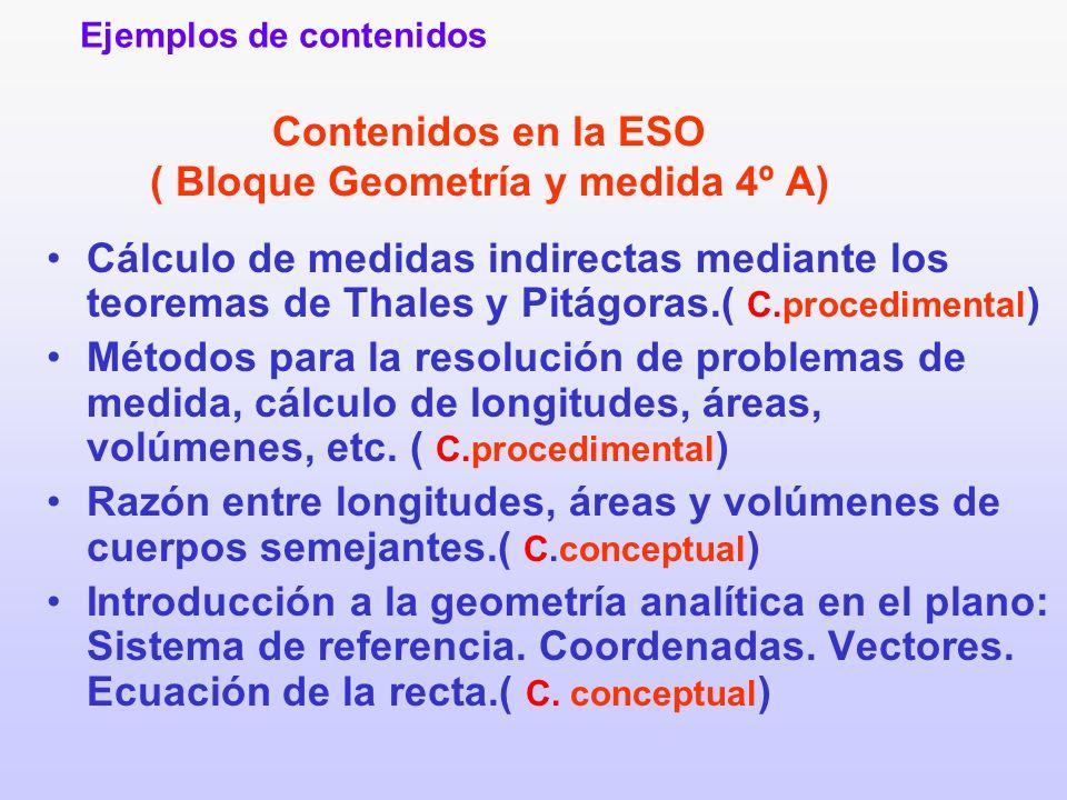 Contenidos en la ESO ( Bloque Geometría y medida 4º A) Cálculo de medidas indirectas mediante los teoremas de Thales y Pitágoras.( C.procedimental ) M