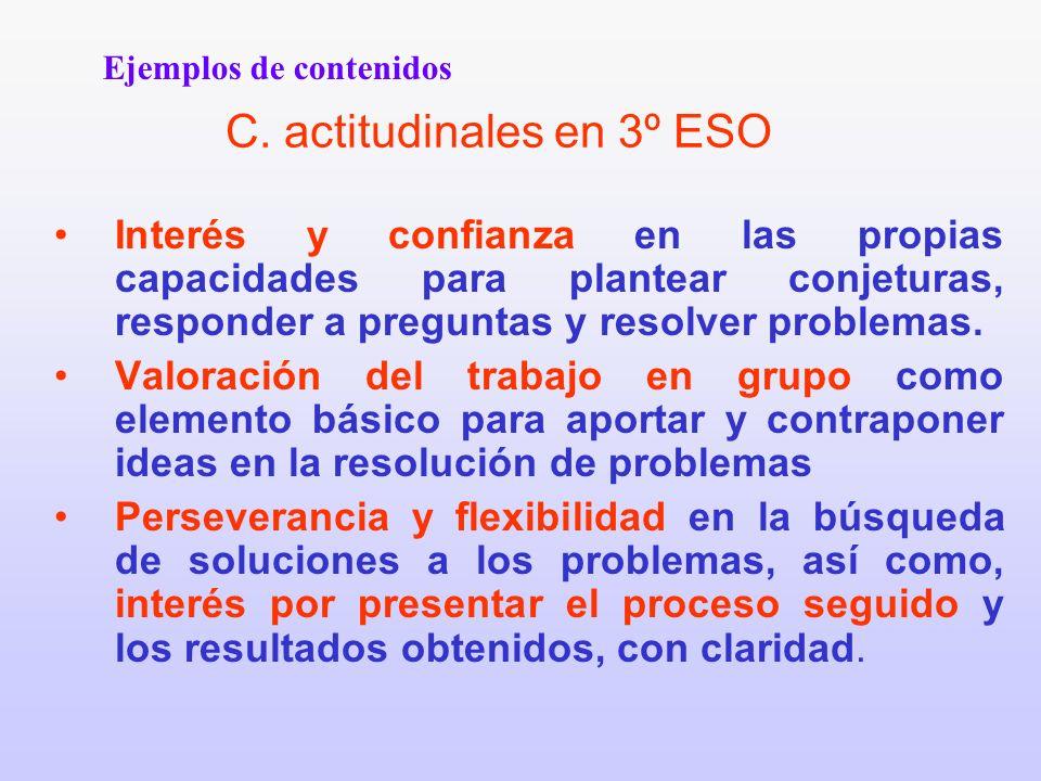C. actitudinales en 3º ESO Interés y confianza en las propias capacidades para plantear conjeturas, responder a preguntas y resolver problemas. Valora