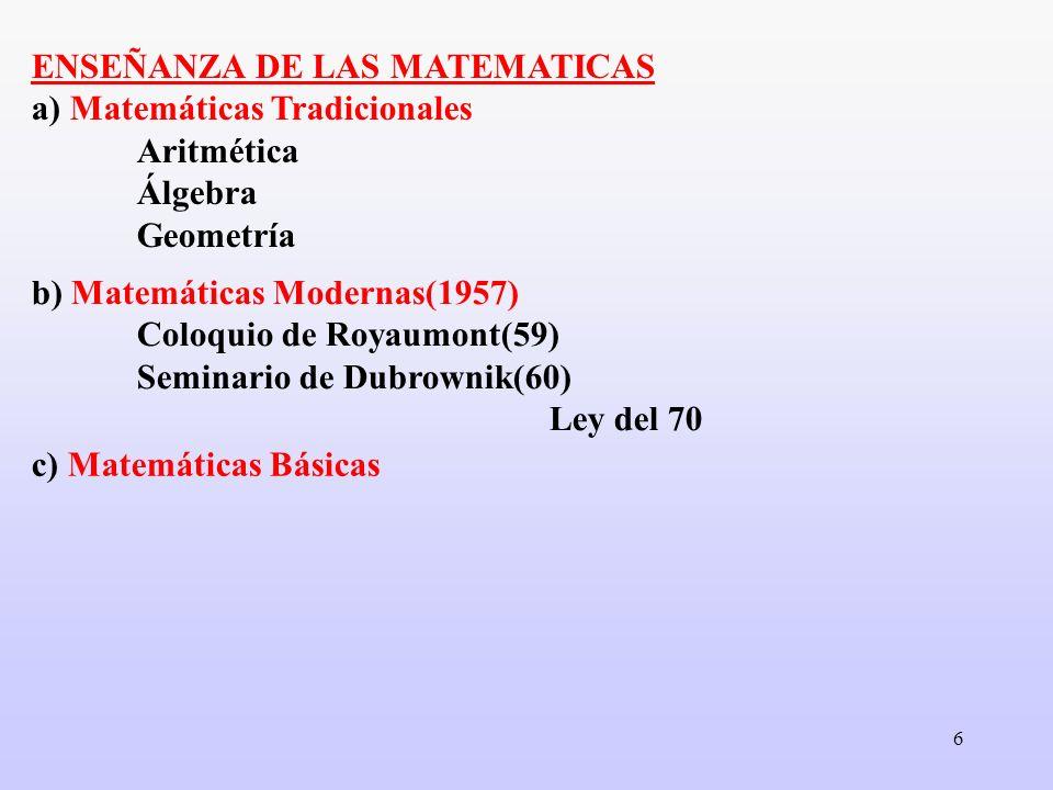 6 ENSEÑANZA DE LAS MATEMATICAS a) Matemáticas Tradicionales Aritmética Álgebra Geometría b) Matemáticas Modernas(1957) Coloquio de Royaumont(59) Semin