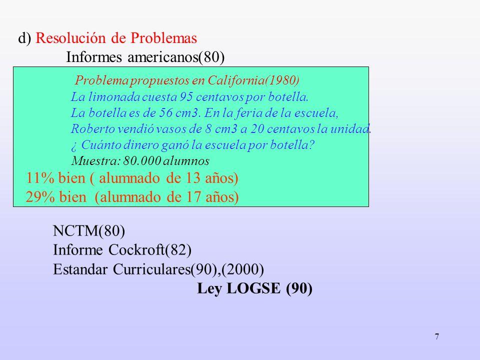 7 d) Resolución de Problemas Informes americanos(80) NCTM(80) Informe Cockroft(82) Estandar Curriculares(90),(2000) Ley LOGSE (90) Problema propuestos