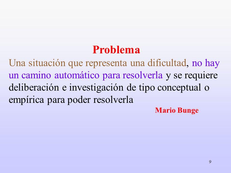 9 Problema Una situación que representa una dificultad, no hay un camino automático para resolverla y se requiere deliberación e investigación de tipo
