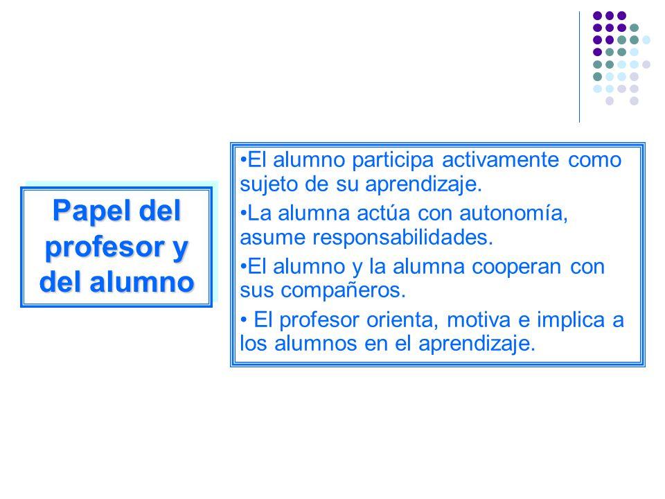 El alumno participa activamente como sujeto de su aprendizaje. La alumna actúa con autonomía, asume responsabilidades. El alumno y la alumna cooperan