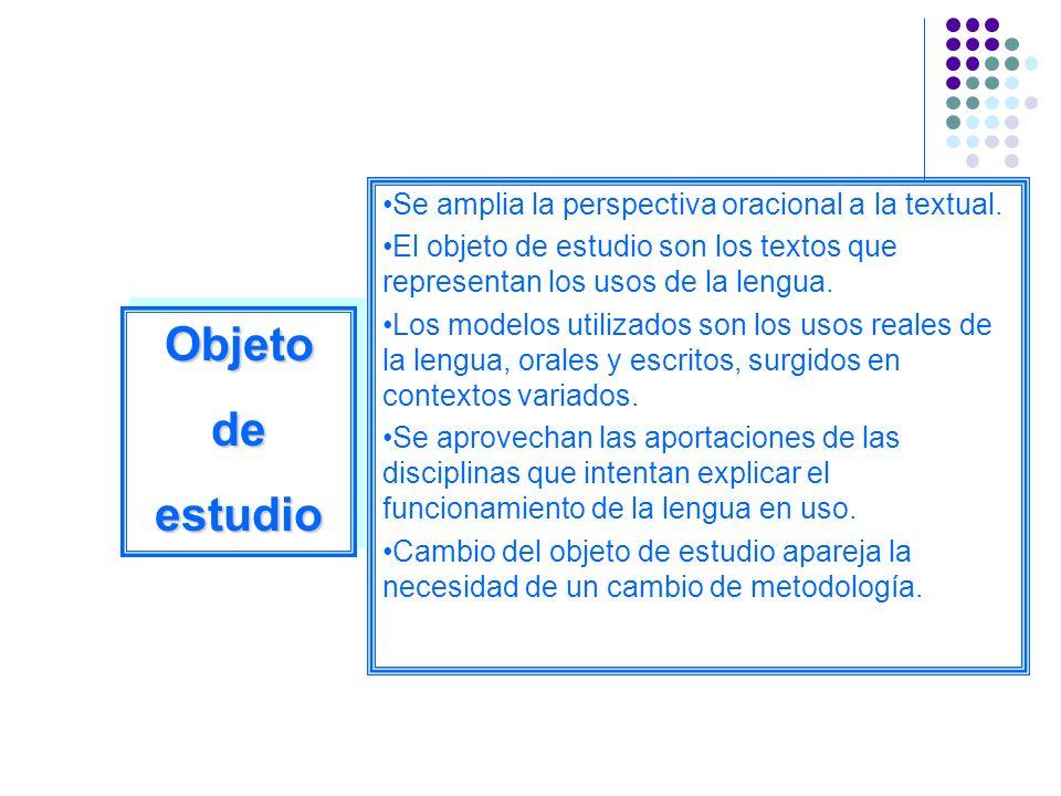Se amplia la perspectiva oracional a la textual. El objeto de estudio son los textos que representan los usos de la lengua. Los modelos utilizados son