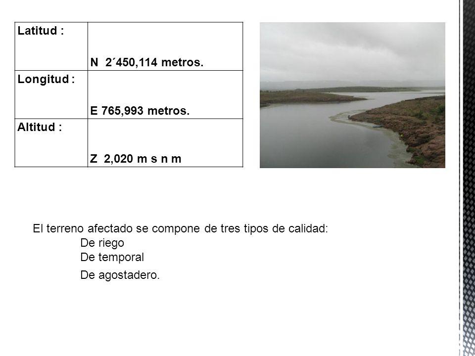 El terreno afectado se compone de tres tipos de calidad: De riego De temporal De agostadero. Latitud : N 2´450,114 metros. Longitud : E 765,993 metros