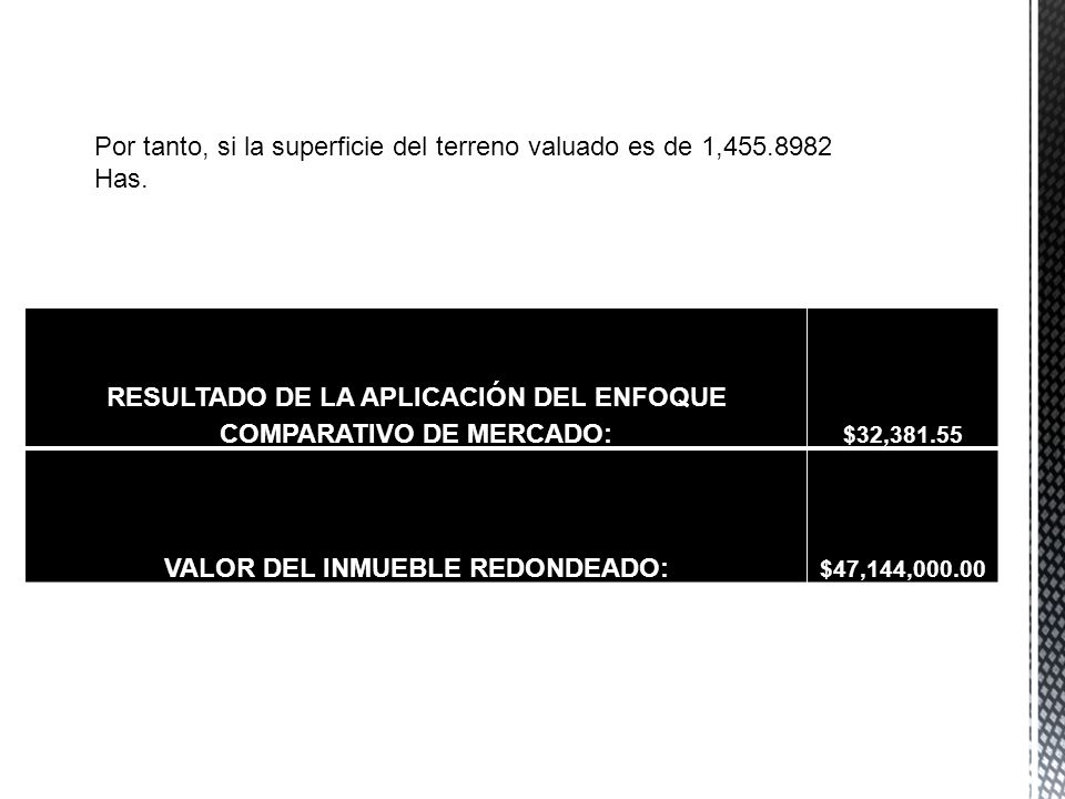 Por tanto, si la superficie del terreno valuado es de 1,455.8982 Has.