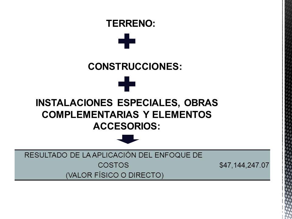 RESULTADO DE LA APLICACIÓN DEL ENFOQUE DE COSTOS (VALOR FÍSICO O DIRECTO) $47,144,247.07 TERRENO: CONSTRUCCIONES: INSTALACIONES ESPECIALES, OBRAS COMP