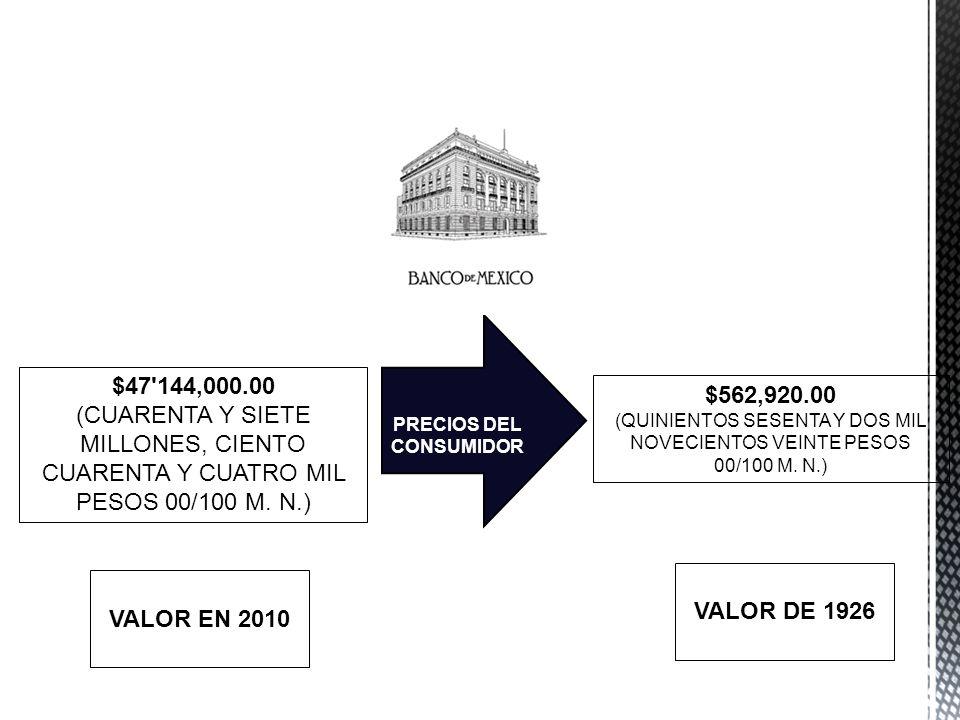 $47'144,000.00 (CUARENTA Y SIETE MILLONES, CIENTO CUARENTA Y CUATRO MIL PESOS 00/100 M. N.) PRECIOS DEL CONSUMIDOR VALOR EN 2010 $562,920.00 (QUINIENT