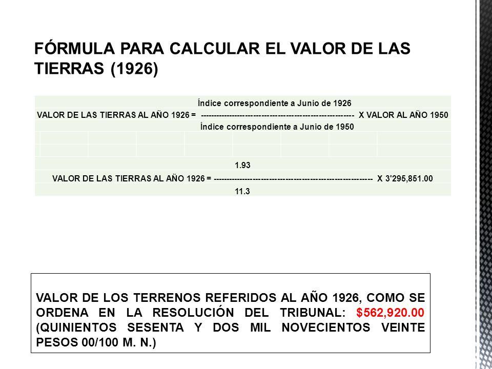 FÓRMULA PARA CALCULAR EL VALOR DE LAS TIERRAS (1926) Índice correspondiente a Junio de 1926 VALOR DE LAS TIERRAS AL AÑO 1926 = -----------------------