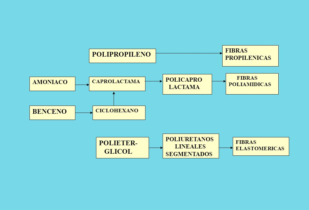 AMONIACO POLIPROPILENO CAPROLACTAMA BENCENO CICLOHEXANO FIBRAS ELASTOMERICAS POLICAPRO LACTAMA POLIURETANOS LINEALES SEGMENTADOS FIBRAS PROPILENICAS F