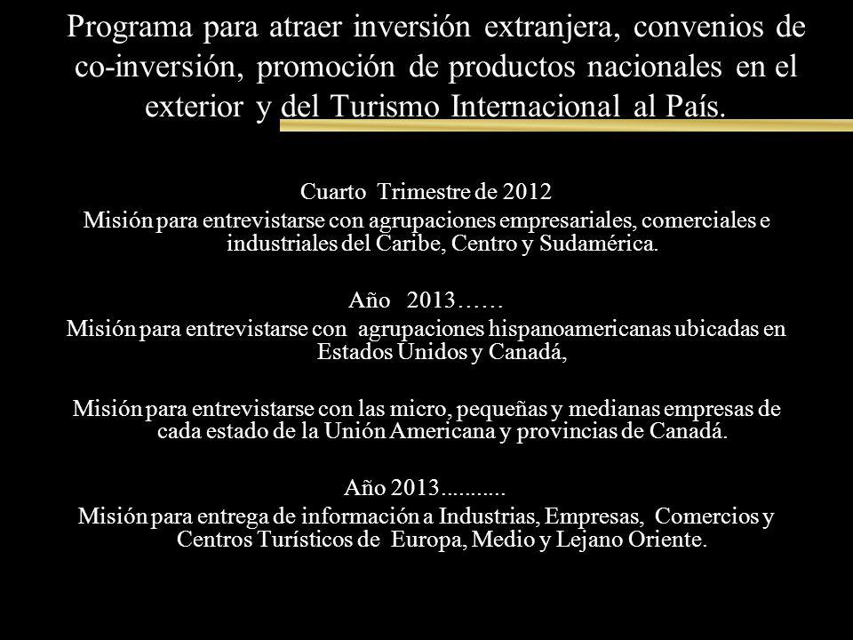 Programa para atraer inversión extranjera, convenios de co-inversión, promoción de productos nacionales en el exterior y del Turismo Internacional al