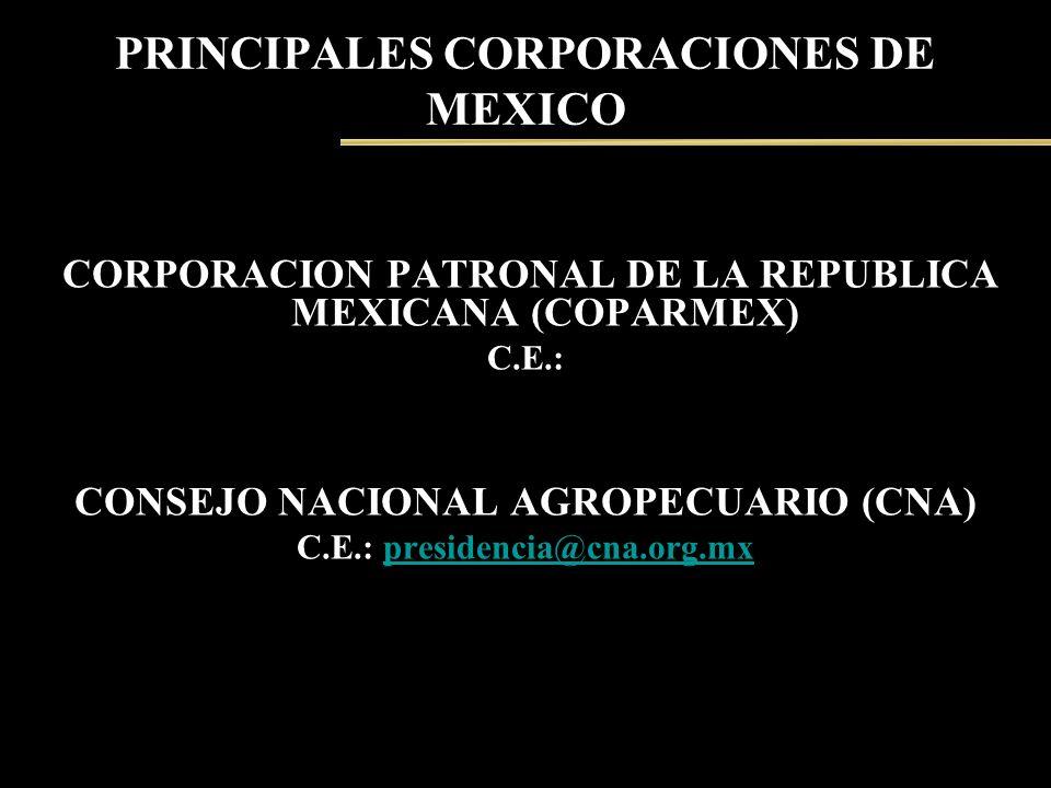 PRINCIPALES CORPORACIONES DE MEXICO CORPORACION PATRONAL DE LA REPUBLICA MEXICANA (COPARMEX) C.E.: CONSEJO NACIONAL AGROPECUARIO (CNA) C.E.: presidenc
