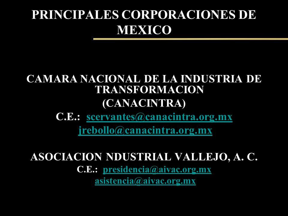 PRINCIPALES CORPORACIONES DE MEXICO CAMARA NACIONAL DE LA INDUSTRIA DE TRANSFORMACION (CANACINTRA) C.E.: scervantes@canacintra.org.mxscervantes@canaci