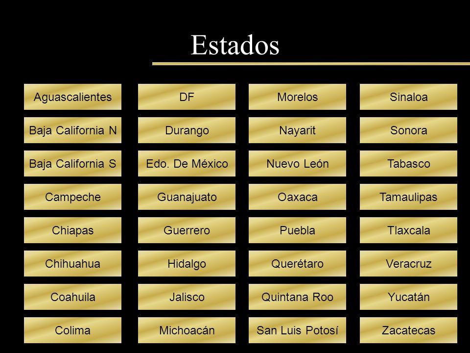 Estados Aguascalientes Baja California N Baja California S Campeche Chiapas Chihuahua Coahuila Colima DF Durango Edo. De México Guanajuato Guerrero Hi