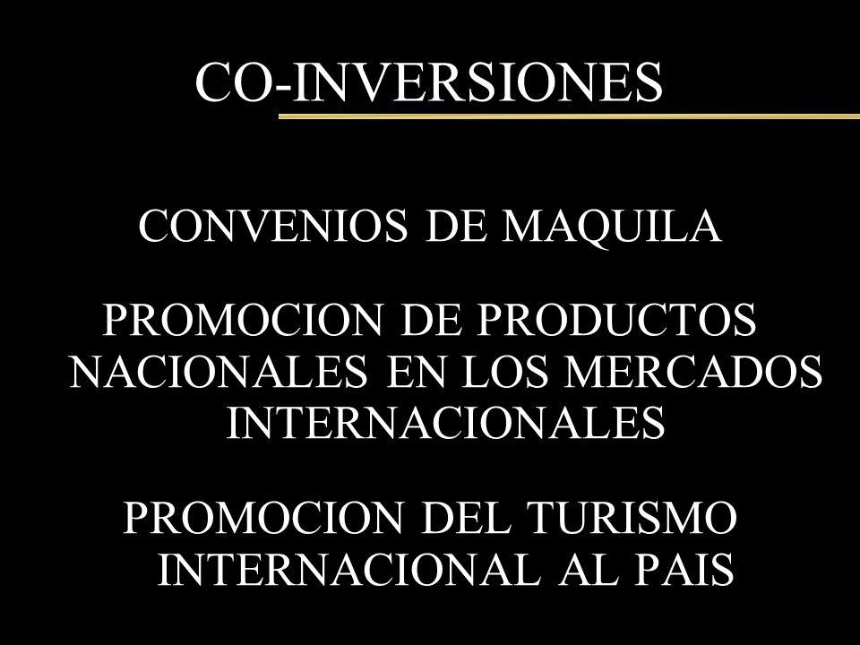 CO-INVERSIONES CONVENIOS DE MAQUILA PROMOCION DE PRODUCTOS NACIONALES EN LOS MERCADOS INTERNACIONALES PROMOCION DEL TURISMO INTERNACIONAL AL PAIS