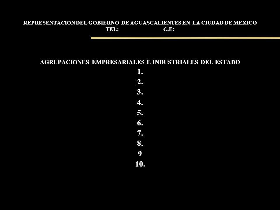 REPRESENTACION DEL GOBIERNO DE AGUASCALIENTES EN LA CIUDAD DE MEXICO TEL: C.E: AGRUPACIONES EMPRESARIALES E INDUSTRIALES DEL ESTADO 1. 2. 3. 4. 5. 6.