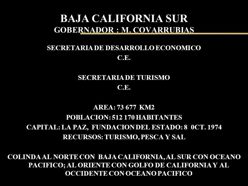 BAJA CALIFORNIA SUR GOBERNADOR : M. COVARRUBIAS SECRETARIA DE DESARROLLO ECONOMICO C.E. SECRETARIA DE TURISMO C.E. AREA: 73 677 KM2 POBLACION: 512 170