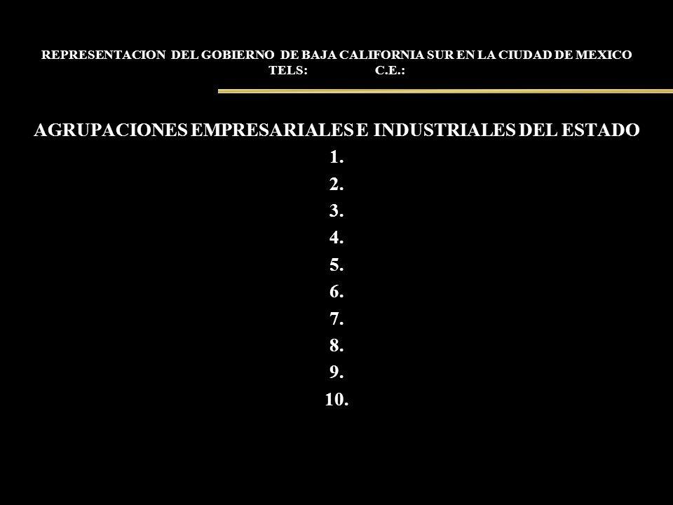 REPRESENTACION DEL GOBIERNO DE BAJA CALIFORNIA SUR EN LA CIUDAD DE MEXICO TELS: C.E.: AGRUPACIONES EMPRESARIALES E INDUSTRIALES DEL ESTADO 1. 2. 3. 4.