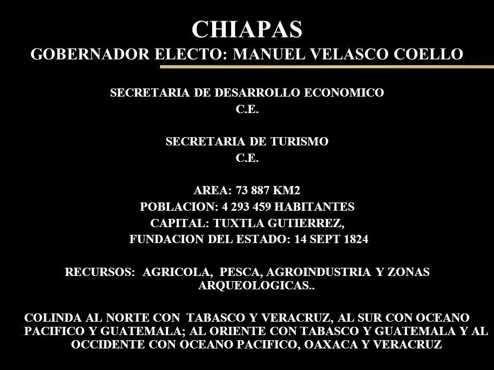 CHIAPAS GOBERNADOR ELECTO: MANUEL VELASCO COELLO SECRETARIA DE DESARROLLO ECONOMICO C.E. SECRETARIA DE TURISMO C.E. AREA: 73 887 KM2 POBLACION: 4 293