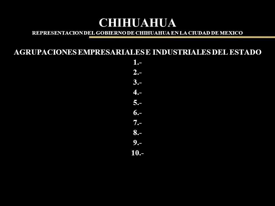 CHIHUAHUA REPRESENTACION DEL GOBIERNO DE CHIHUAHUA EN LA CIUDAD DE MEXICO AGRUPACIONES EMPRESARIALES E INDUSTRIALES DEL ESTADO 1.- 2.- 3.- 4.- 5.- 6.-