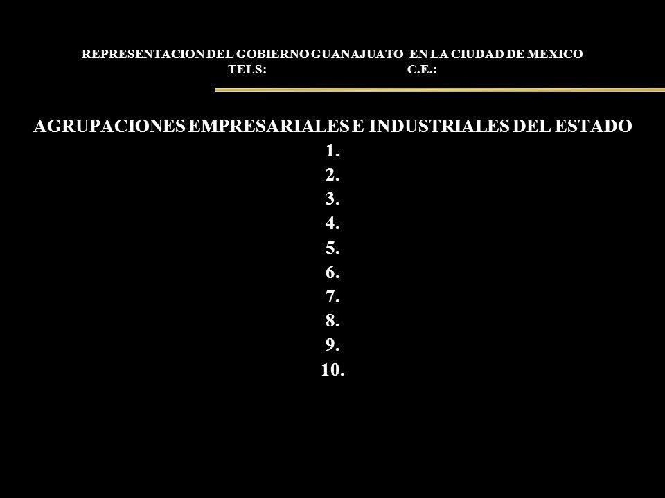 REPRESENTACION DEL GOBIERNO GUANAJUATO EN LA CIUDAD DE MEXICO TELS: C.E.: AGRUPACIONES EMPRESARIALES E INDUSTRIALES DEL ESTADO 1. 2. 3. 4. 5. 6. 7. 8.