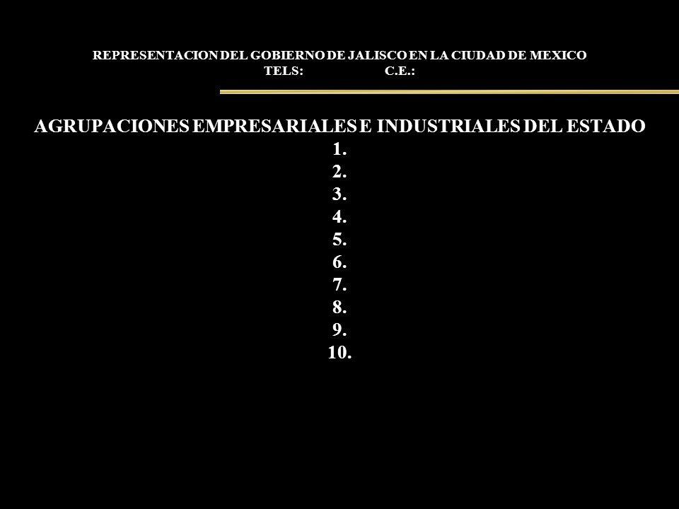 REPRESENTACION DEL GOBIERNO DE JALISCO EN LA CIUDAD DE MEXICO TELS: C.E.: AGRUPACIONES EMPRESARIALES E INDUSTRIALES DEL ESTADO 1. 2. 3. 4. 5. 6. 7. 8.