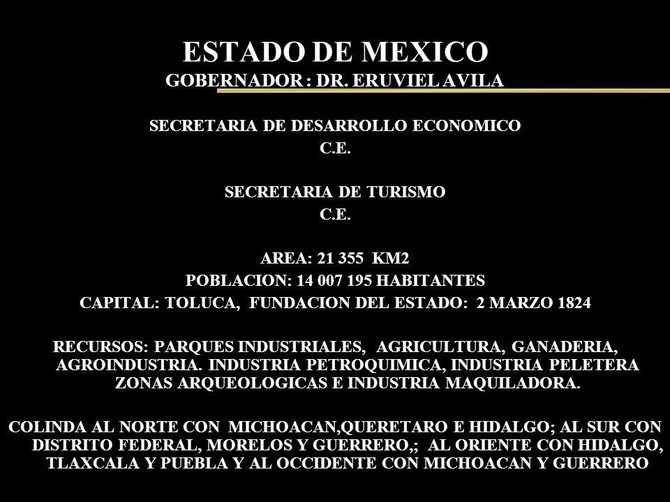 ESTADO DE MEXICO GOBERNADOR : DR. ERUVIEL AVILA SECRETARIA DE DESARROLLO ECONOMICO C.E. SECRETARIA DE TURISMO C.E. AREA: 21 355 KM2 POBLACION: 14 007