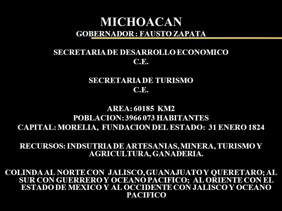 MICHOACAN GOBERNADOR : FAUSTO ZAPATA SECRETARIA DE DESARROLLO ECONOMICO C.E. SECRETARIA DE TURISMO C.E. AREA: 60185 KM2 POBLACION: 3966 073 HABITANTES