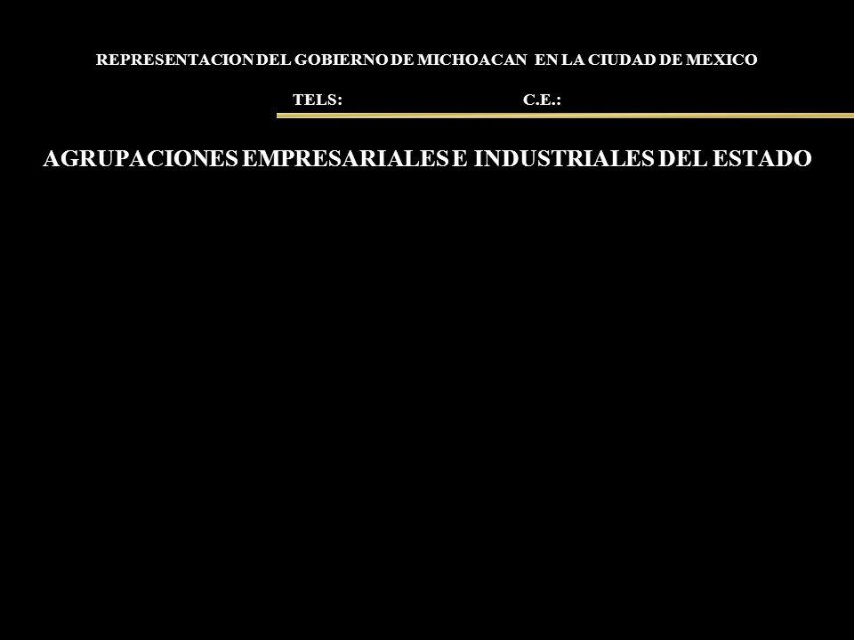 REPRESENTACION DEL GOBIERNO DE MICHOACAN EN LA CIUDAD DE MEXICO TELS: C.E.: AGRUPACIONES EMPRESARIALES E INDUSTRIALES DEL ESTADO