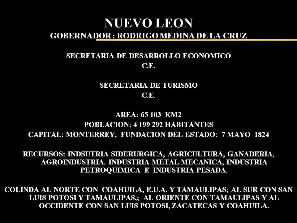 NUEVO LEON GOBERNADOR : RODRIGO MEDINA DE LA CRUZ SECRETARIA DE DESARROLLO ECONOMICO C.E. SECRETARIA DE TURISMO C.E. AREA: 65 103 KM2 POBLACION: 4 199