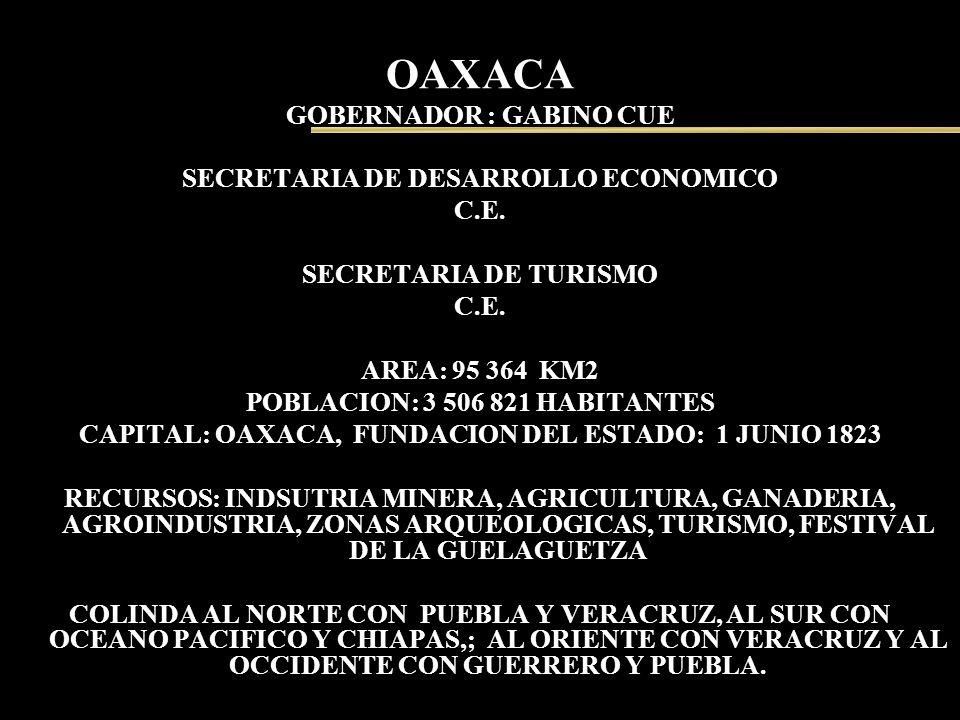 OAXACA GOBERNADOR : GABINO CUE SECRETARIA DE DESARROLLO ECONOMICO C.E. SECRETARIA DE TURISMO C.E. AREA: 95 364 KM2 POBLACION: 3 506 821 HABITANTES CAP