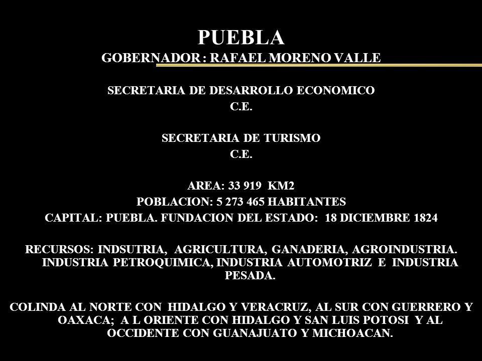 PUEBLA GOBERNADOR : RAFAEL MORENO VALLE SECRETARIA DE DESARROLLO ECONOMICO C.E. SECRETARIA DE TURISMO C.E. AREA: 33 919 KM2 POBLACION: 5 273 465 HABIT