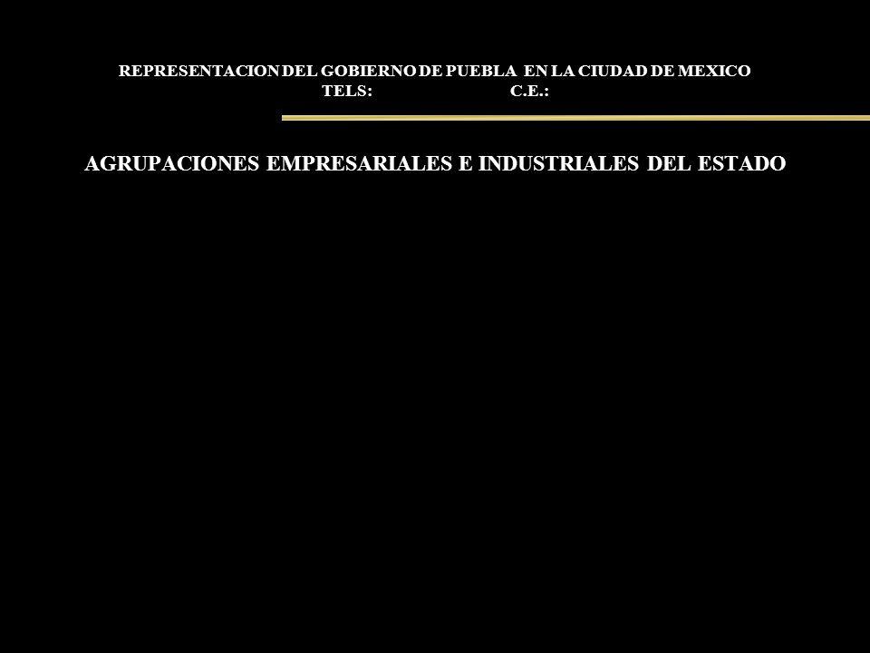 REPRESENTACION DEL GOBIERNO DE PUEBLA EN LA CIUDAD DE MEXICO TELS: C.E.: AGRUPACIONES EMPRESARIALES E INDUSTRIALES DEL ESTADO