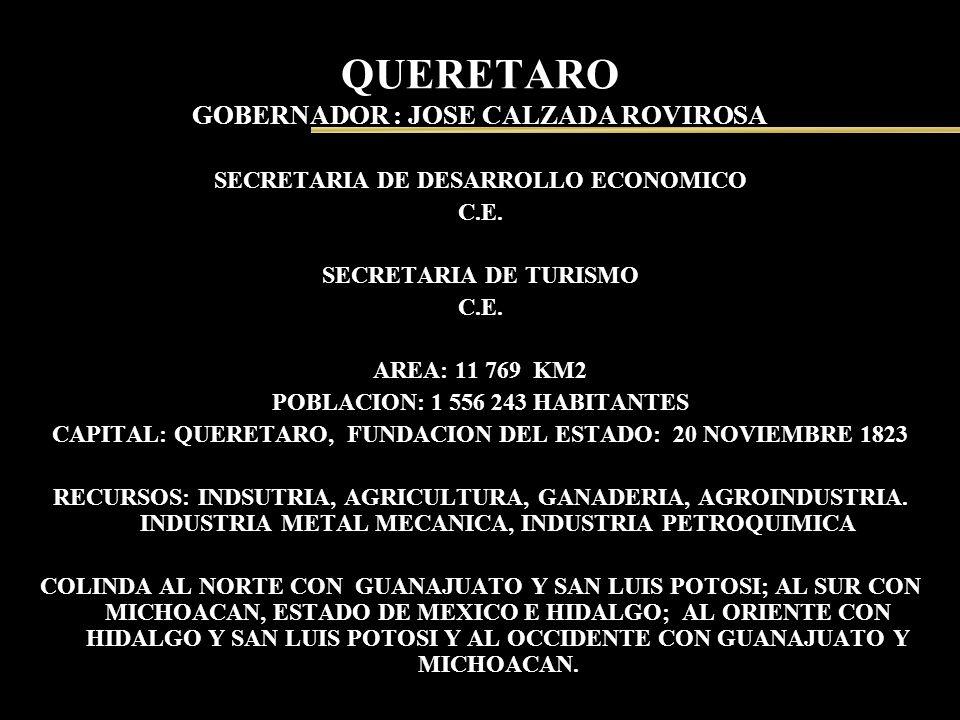 QUERETARO GOBERNADOR : JOSE CALZADA ROVIROSA SECRETARIA DE DESARROLLO ECONOMICO C.E. SECRETARIA DE TURISMO C.E. AREA: 11 769 KM2 POBLACION: 1 556 243