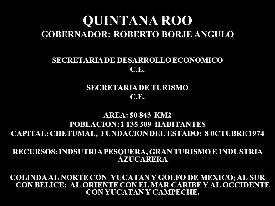 QUINTANA ROO GOBERNADOR: ROBERTO BORJE ANGULO SECRETARIA DE DESARROLLO ECONOMICO C.E. SECRETARIA DE TURISMO C.E. AREA: 50 843 KM2 POBLACION: 1 135 309