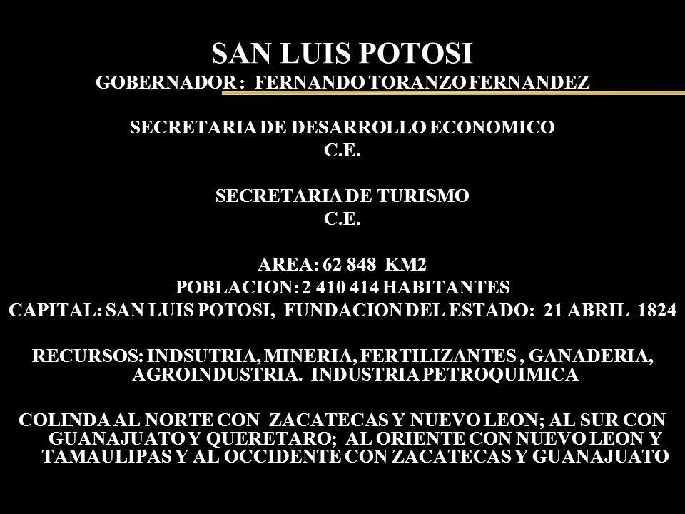 SAN LUIS POTOSI GOBERNADOR : FERNANDO TORANZO FERNANDEZ SECRETARIA DE DESARROLLO ECONOMICO C.E. SECRETARIA DE TURISMO C.E. AREA: 62 848 KM2 POBLACION: