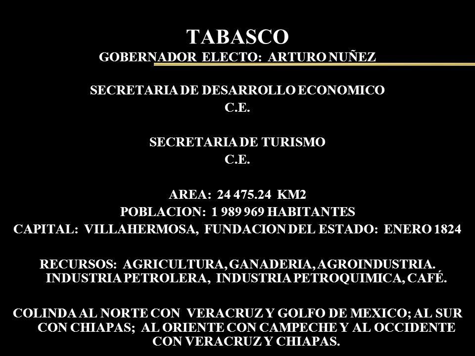 TABASCO GOBERNADOR ELECTO: ARTURO NUÑEZ SECRETARIA DE DESARROLLO ECONOMICO C.E. SECRETARIA DE TURISMO C.E. AREA: 24 475.24 KM2 POBLACION: 1 989 969 HA
