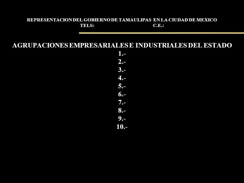 REPRESENTACION DEL GOBIERNO DE TAMAULIPAS EN LA CIUDAD DE MEXICO TELS: C.E.: AGRUPACIONES EMPRESARIALES E INDUSTRIALES DEL ESTADO 1.- 2.- 3.- 4.- 5.-