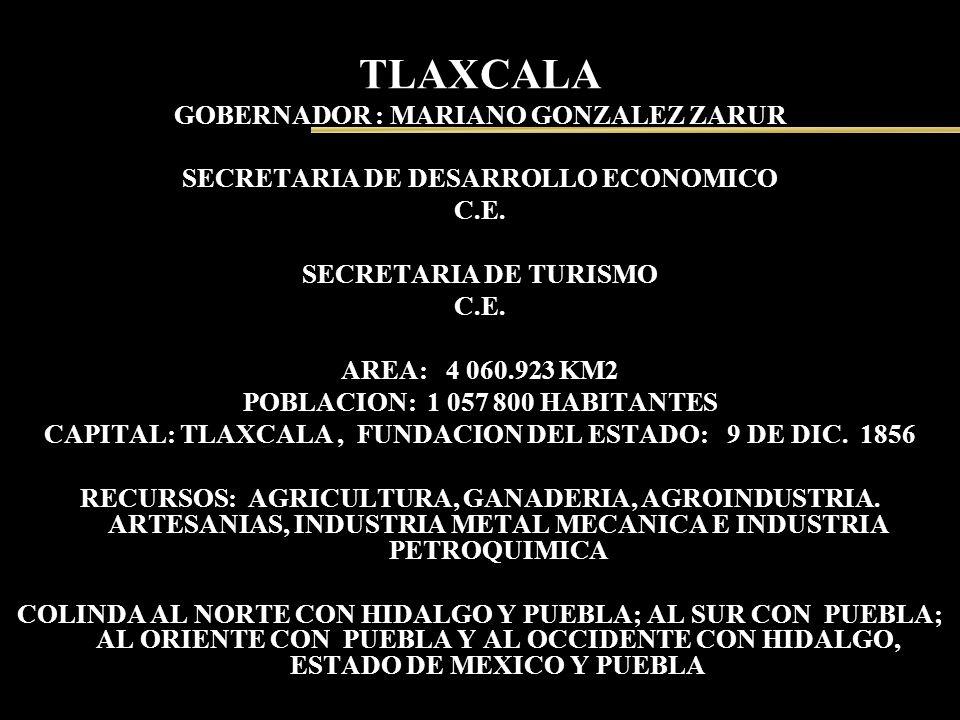 TLAXCALA GOBERNADOR : MARIANO GONZALEZ ZARUR SECRETARIA DE DESARROLLO ECONOMICO C.E. SECRETARIA DE TURISMO C.E. AREA: 4 060.923 KM2 POBLACION: 1 057 8