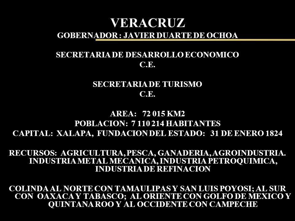 VERACRUZ GOBERNADOR : JAVIER DUARTE DE OCHOA SECRETARIA DE DESARROLLO ECONOMICO C.E. SECRETARIA DE TURISMO C.E. AREA: 72 015 KM2 POBLACION: 7 110 214