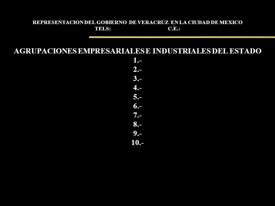 REPRESENTACION DEL GOBIERNO DE VERACRUZ EN LA CIUDAD DE MEXICO TELS: C.E.: AGRUPACIONES EMPRESARIALES E INDUSTRIALES DEL ESTADO 1.- 2.- 3.- 4.- 5.- 6.