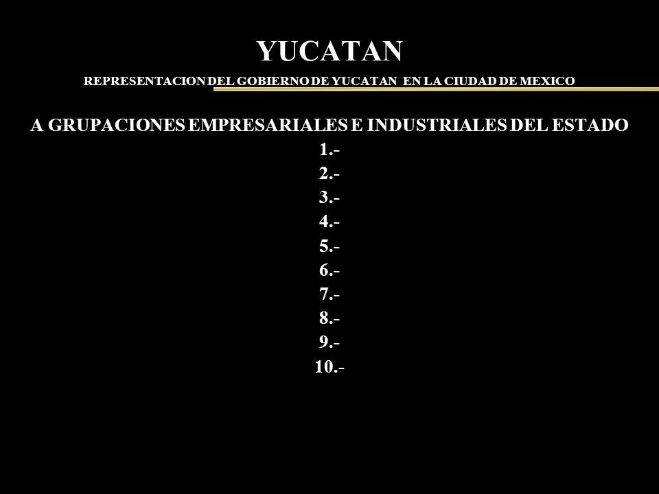 YUCATAN REPRESENTACION DEL GOBIERNO DE YUCATAN EN LA CIUDAD DE MEXICO A GRUPACIONES EMPRESARIALES E INDUSTRIALES DEL ESTADO 1.- 2.- 3.- 4.- 5.- 6.- 7.