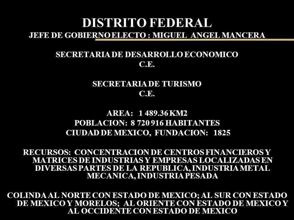DISTRITO FEDERAL JEFE DE GOBIERNO ELECTO : MIGUEL ANGEL MANCERA SECRETARIA DE DESARROLLO ECONOMICO C.E. SECRETARIA DE TURISMO C.E. AREA: 1 489.36 KM2
