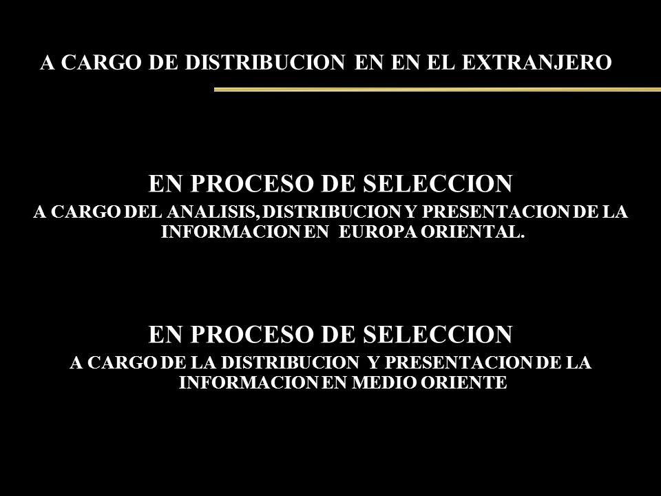 A CARGO DE DISTRIBUCION EN EN EL EXTRANJERO EN PROCESO DE SELECCION A CARGO DEL ANALISIS, DISTRIBUCION Y PRESENTACION DE LA INFORMACION EN EUROPA ORIE