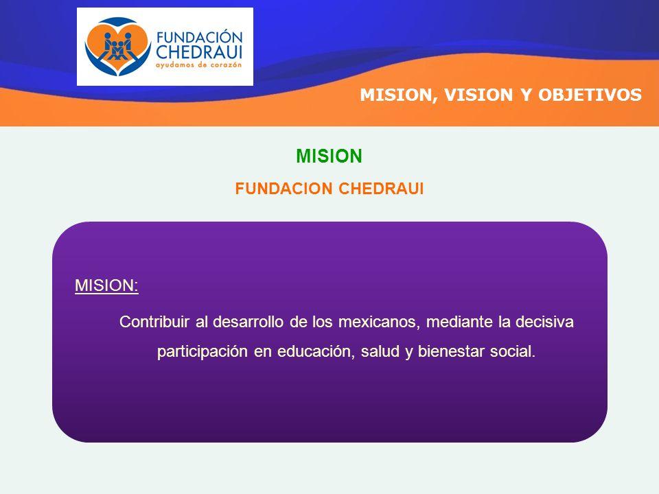 MISION, VISION Y OBJETIVOS MISION: Contribuir al desarrollo de los mexicanos, mediante la decisiva participación en educación, salud y bienestar socia